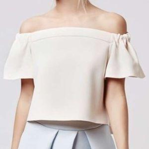 NWT New Topshop Blush Cream Bardot Top Size US 6